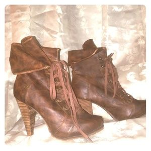 Sexy Brown Lace Up Ankle Boots